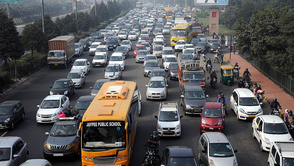 huge traffic jams, narrow roads, overcrowding on roads